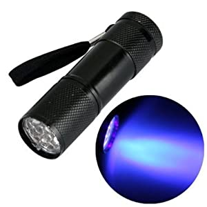 Alldaymall® Black Light Flashlight Urine Detector - Professional Quality Ultra Bright 9 UV LEDs in Aluminium Casing for Detecting Dry Pet Dog-Cat-Rodent Urine Stains on Carpet and Other Surfaces, Black