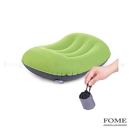 Cuscino autogonfiante,, FOME sports|outdoors ultraleggero portatile compatto da campeggio viaggio cuscino autogonfiante, comoda per escursionismo Backpacking 1anno di garanzia, Green