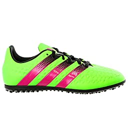 adidas Performance Ace 16.3 TF J Soccer Shoe (Little Kid/Big Kid),Green/Shock Pink/Black,3.5 M US Big Kid