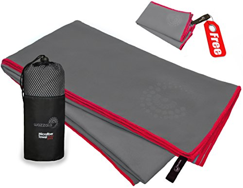 Premium Microfiber Towel for GYM, Sports and Fitness. Includes Bonus Small Hand/Face Towel and Mesh BAG. Antibacterial, Quick-dry, Compact. With Hook.
