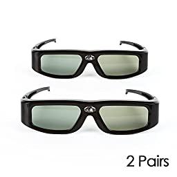 2 Pack SainSonic GX-30 3D Glasses Active Shutter 144Hz Rechargeable for Universal DLP-Link Ready Projectors, BenQ, Optoma, Dell, Mitsubishi, Samsung, Acer, Vivitek, NEC, Sharp, ViewSonic - Black