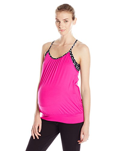 Lamaze Maternity Women's Maternity Acitve Yoga Racerback Tank Camisole, Pink, Medium