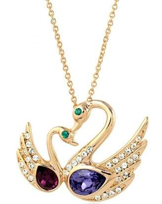 Swarovski Elements Crystal Double Swan Necklace 18″-CN3350
