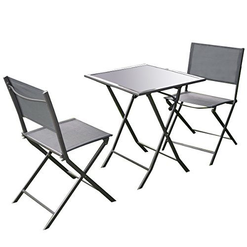 Giantex 3 Pcs Bistro Set Garden Backyard Table Chairs Outdoor Patio Furniture Folding (Bistro Tables And Chairs compare prices)