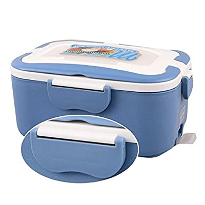 COFFLED 220V Electric Heating Bento Lunch Box,12V In-vehicle BPA-Free Plastic Food Storage Container for Adults&Kids,Super easy-to-carry Portable Meal Heater with Stainless Steel Tank(Blue color)