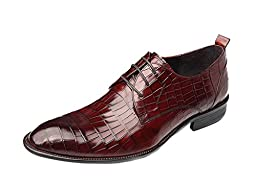 CAMSSOO Men\'s Lace Up Pointed Toe Low Heel Dress Shoes Wine Red Cow leather 7 M US