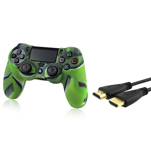 все цены на Everydaysource® Compatible With Sony PlayStation 4 (PS4) Controller Camouflage Navy Green Silicone Skin Case + 15FT/ 4.6M Black High Speed HDMI Cable M/M онлайн