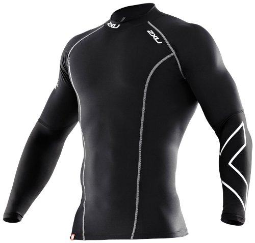 2XU Men's Thermal Compression Long Sleeve Top (Black/Black, Medium)