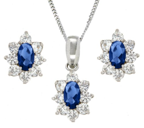 9ct White Gold Blue and White Cubic Zirconia Flower Cluster Stud Earrings and Pendant Set on Curb Chain Necklace 46cm/18