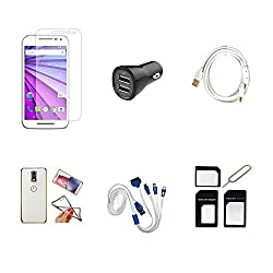 High Quality Combo of Moto G3 Temper Glass + Car Charger 2 USB + Fast Charging Cable + Attractive Back Cover (Transparent Back with Golden Border) + 4 in 1 USB Charging Cable