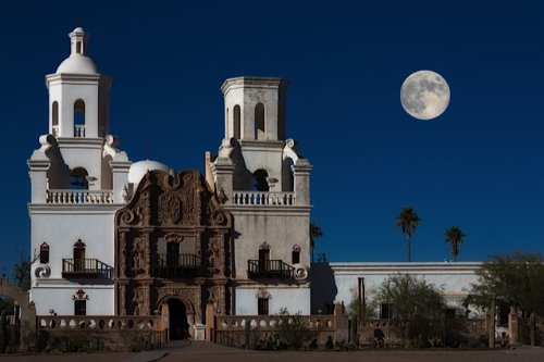 Full Moon Over Mission San Xavier del Bac, Tuscon, Arizona
