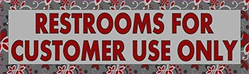 10 x 3 Gray Restrooms for Customer Use OnlyVinyl Sign Sticker Window Stickers Vinyl Decals Decal (Restrooms For Customers Only compare prices)