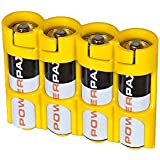 """Storacell by PowerPax SlimLine 4 AA Battery Caddy Yellow - Holds 4 """"AA"""" Batteries"""