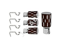 JAKABA Antique Copper Stainless Steel and Alloy Curtain Finials with Supports - PACK of 8 Pcs.