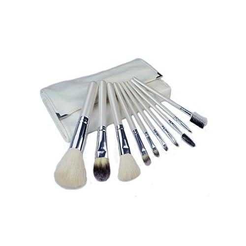 メイクブラシセット 持ち運びに便利な化粧ポーチ付き 化粧ブラシセット (ホワイト10本セット)