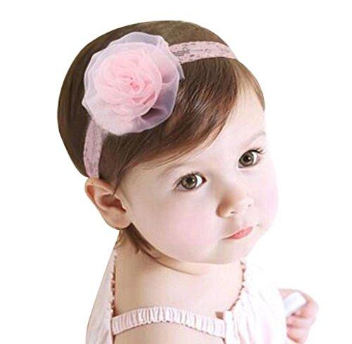 Maolanku Kid neonate principessa Lace garza Rosa fasce del fiore fascia elastica dei capelli