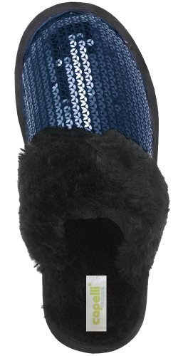 Cheap Capelli New York Sequin Jersey Upper On A Long Pile Bunny Sock Ladies Indoor Slippers (B005MJYPOG)