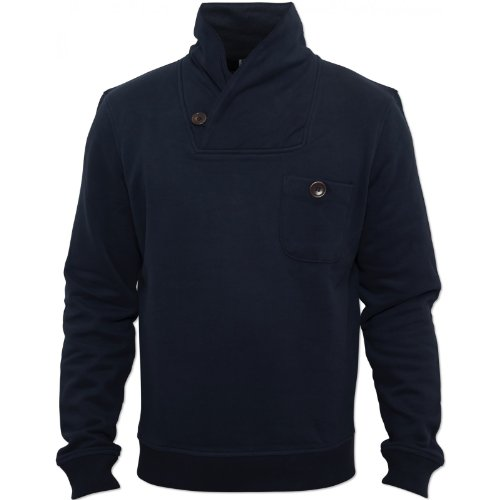 Peter Werth Mens Navy P1H13003 Jumper High Neck Collar Elasticated Cuffs Cotton Navy Small