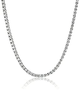 """IGI Certified 18k White Gold Diamond Tennis Necklace (7.00 cttw, H-I Color, SI2-I1 Clarity), 17"""""""