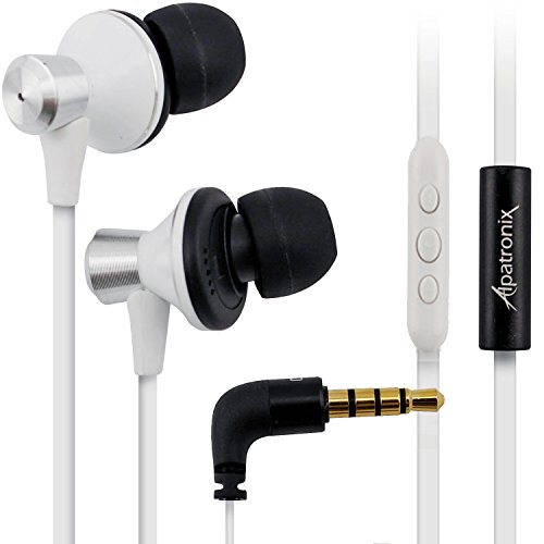 Alpatronix Ex100 High Performance In-Ear Headphones With Built-In Mic / Tangle-Free Wired Headset Earbuds With 3-Button Volume Control For Iphone 5S, 5C, 5, 4S, 4 / Ipad 4, 3, 2, 1, Mini, Air / Ipod Touch, Nano, Shuffle And Other Apple Ios Devices - White