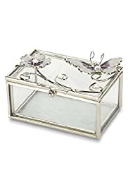 Butterfly & Floral Faux Pearl Trinket Box