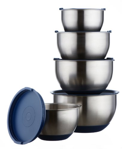 VonShef Professional 5 Piece Mixing Bowl Set Stainless Steel