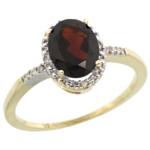 10k Gold ( 8x6 mm ) Halo Engagement Garnet Ring w/ 0.033 Carat Brilliant Cut Diamonds & 1.05 Carats Oval Cut Stone, 3/8 in. (10mm) wide, size 5