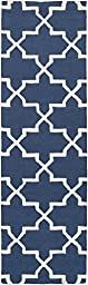 Blue Wool Rug Contemporary Design 2-Foot 3-Inch x 10-Foot Hand-Made Lattice Carpet