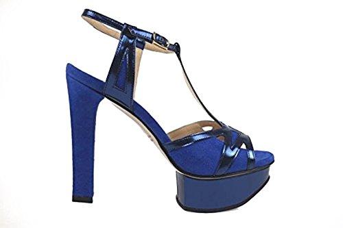 scarpe donna GUIDO SGARIGLIA 36 EU sandali blu pelle camoscio AP799-B