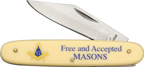 Novelty Cutlery Mas Bear Hunter Masonic Novelty Knife With Alabaster Composition Handles
