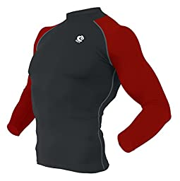 COOVY Sports Compression Under Base Layer Heat Armour Long Sleeve Wear Tops (Black/Red)