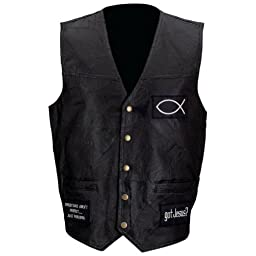 Men\'s Leather Biker Vest with Christian Patches -X-Large Black