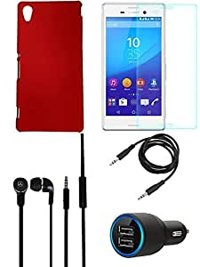 NIROSHA Tempered Glass Screen Guard Cover Case Car Charger Headphone for Sony Experia M4 - Combo
