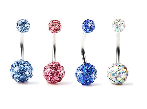 BODYA Lot of 4pc 14g Bling Disco Ball Multi Crystal Belly Button Navel Ring Bling Free Retainer (Light Blue+pink+deep Blue+goldμlti Color) (Belly Rings Light Blue compare prices)