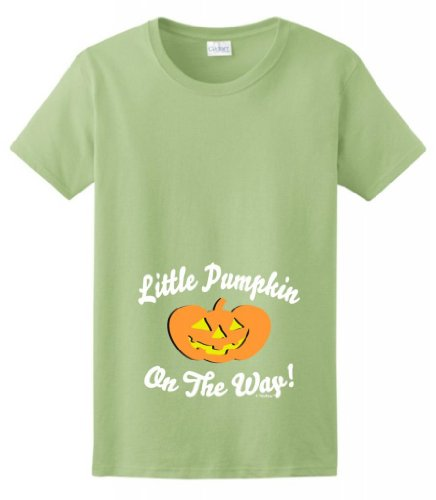 Little Pumpkin On The Way Maternity Themed Ladies T-Shirt Large Pistachio front-897222