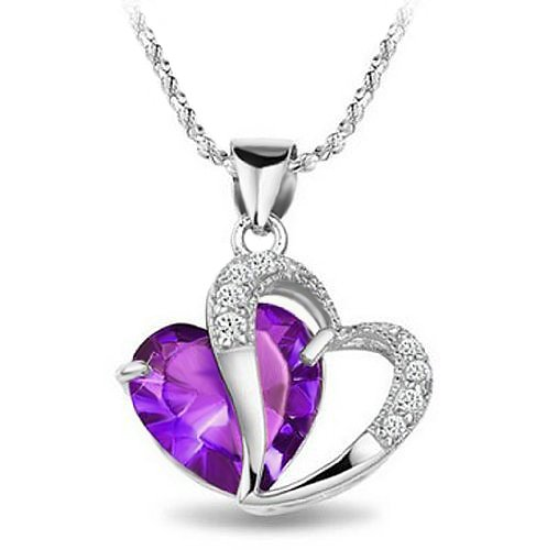 Rhodium Plated 925 Silver Diamond Accent Amethyst Heart Shape Pendant Necklace 18