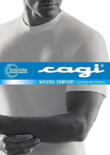 6 T-SHIRT MAGLIETTA UOMO CAGI MANICA CORTA ART 1306 BIANCO GIRO ALTO 100% COTONE