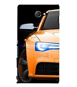 EPICCASE Orange Car Mobile Back Case Cover For Sony Xperia M2 (Designer Case)