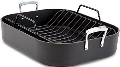 All-Clad E8759964 Hard Anodized 16-Inch x 13-Inch Large Roasting Pan with Nonstick Rack / Cookware, Black