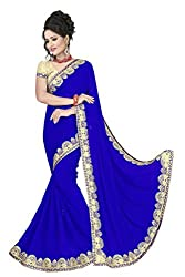 Sonani Women's Georgette Disigner Paety Wear Sarees with Blouse Piece (Blue)