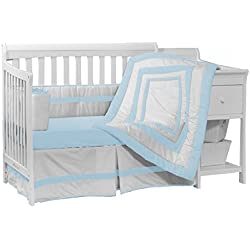 Baby Doll Bedding Modern Hotel Style Crib Bedding Set, Blue