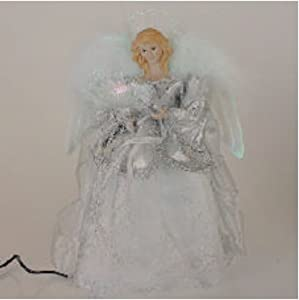 "12"" Silver Splendor White Pre-Lit Fiber Optic Angel Christmas Tree Topper"