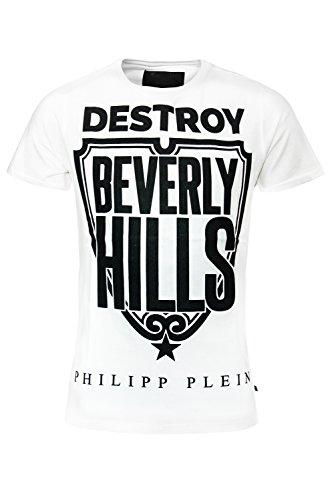 """Philipp Plein Weiss """"Destroy"""" T-Shirt Shirt Designer Shirt Bedruckt Für Herren und Männer Tailiert Slim Fit Slim Fit Rundhals mit Print und Applikationen (L) thumbnail"""