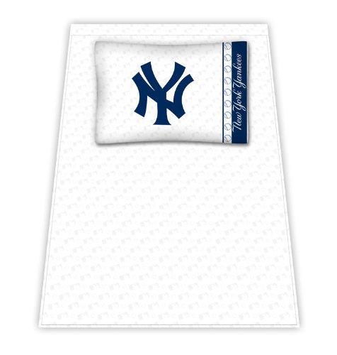 Best Quality Micro Fiber Sheet Set - New York Yankees Mlb /Color White Size Full