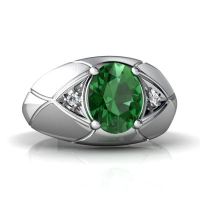 14K White Gold Oval Emerald Men's Ring