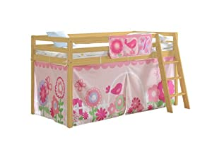 Cabin Bed & Mattress in Pine with Tent FLORAL 578PINE FLORAL+MATTRESS