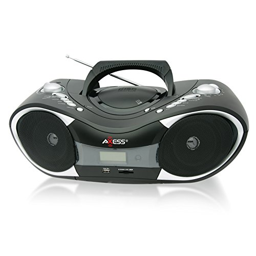 Axess Pb2707 Portable Mp3/Cd Boombox With Am/Fm Stereo, Usb, Sd, Mmc And Aux Inputs