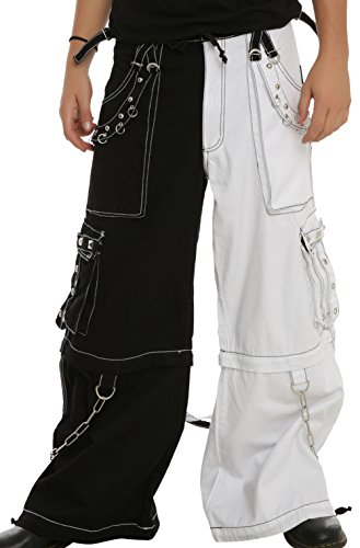Tripp White & Black Two Tone Split Leg Pants With Zip Off Legs To Shorts (Medium)