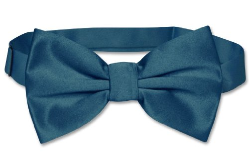 Vesuvio Napoli Bowtie Solid Blue Sapphire Color Men'S Bow Tie For Tuxedo Or Suit