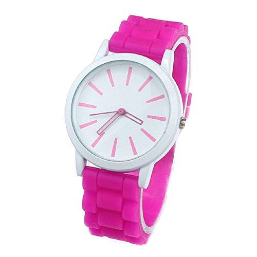 Zps(Tm) Silicone Rubber Jelly Gel Quartz Analog Sports Unisex Wrist Watch (Hot Pink)